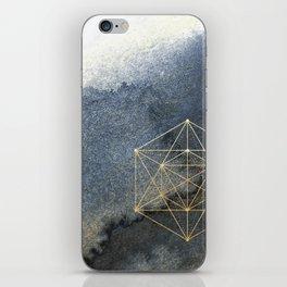 Sacred Geometry Indigo Blue & Gold Watercolor iPhone Skin