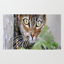The Curious Tabby Cat Rug