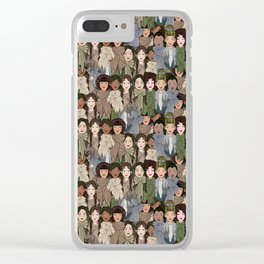 Ladies Wearing Scarves Clear iPhone Case