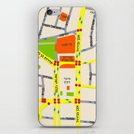 Tel Aviv map design - written in Hebrew iPhone Skin