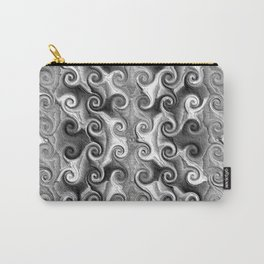 Black White Seamless Wave Spiral Abstract Pattern Carry-All Pouch