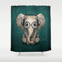 Cute Baby Elephant Dj Wearing Headphones and Glasses on Blue Shower Curtain