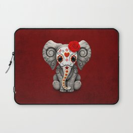 Deep Red Day of the Dead Sugar Skull Baby Elephant Laptop Sleeve