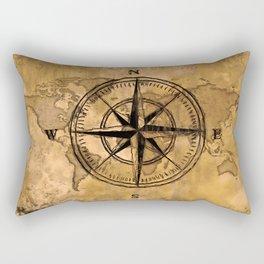 Destinations - Compass Rose and World Map Rectangular Pillow