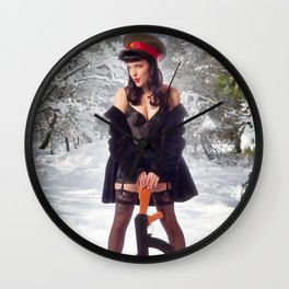 """Sovietsky on Ice"" - The Playful Pinup - Russian Theme Pin-up Girl in Snow by Maxwell H. Johnson Wall Clock"