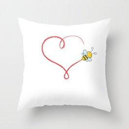 Heart Bumblebee Bee Trajectory Honey Gift Throw Pillow