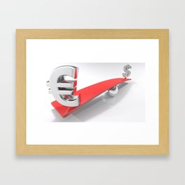 Euro and Dollar symbols at opposite sides of a balanced plane Framed Art Print