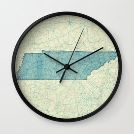 Tennessee State Map Blue Vintage Wall Clock
