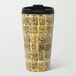 Mayan and aztec glyphs gold on vintage texture Travel Mug