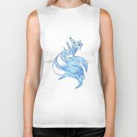 kitsune Biker Tanks featuring Ice Kitsune by KristenOKeefeArt