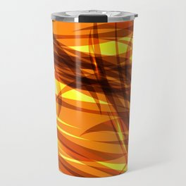 Saturated gold and smooth sparkling lines of metal ribbons on the theme of space and abstraction. Travel Mug