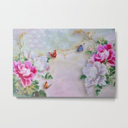 butterfly with flower Metal Print