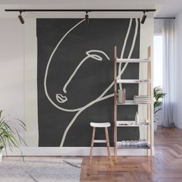Abstract Face Minimalist Line Drawing Wall Mural