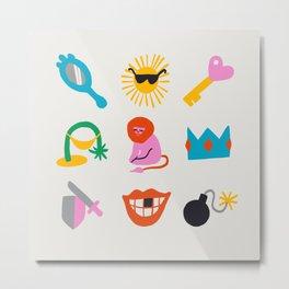 Leo Emoji Metal Print
