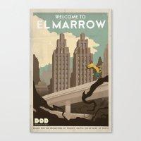 grim fandango Canvas Prints featuring Grim Fandango Vintage Travel Poster - El Marrow by David MacKenzie