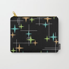 Mid Century Modern Stars Black Turquoise Chartreuse Orange Carry-All Pouch