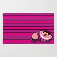 cheshire cat Area & Throw Rugs featuring Cheshire Cat by ThreeBoys