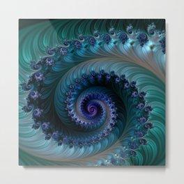 SPIRAL METALLIC BLUE Metal Print