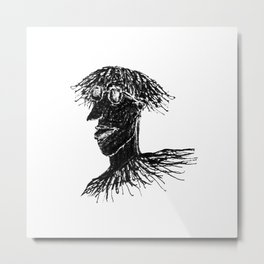 Cool Young Long Hair Man with Glasses Drawing Metal Print