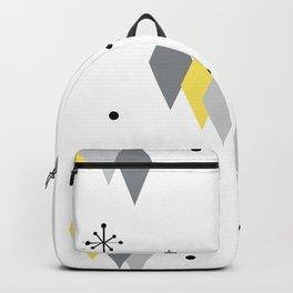 Retro Diamonds & Sputnik Starbursts Yellow Gray Backpack