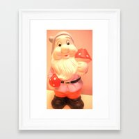 gnome Framed Art Prints featuring Gnome  by Vintage  Cuteness