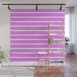 Horizontal Lines (White/Violet) Wall Mural