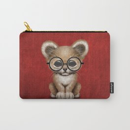Cute Baby Lion Cub Wearing Glasses on Red Carry-All Pouch