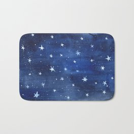 Midnight Stars Night Watercolor Painting by Robayre Bath Mat