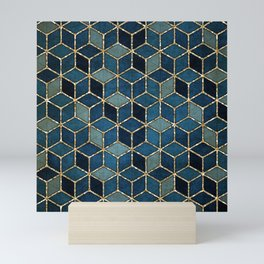 Shades Of Turquoise Green & Blue Cubes Pattern Mini Art Print