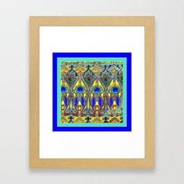 Decorative Blue Peacock Art Nouveau Themed Design Framed Art Print