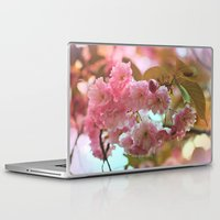 cherry blossoms Laptop & iPad Skins featuring Cherry Blossoms by Judy Palkimas