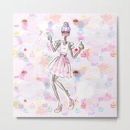 Cupcake Party Girl Metal Print