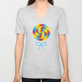 candy lollipop with bow, colorful spiral candy cane Unisex V-Neck