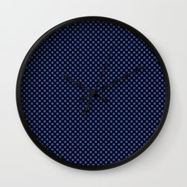 Black and Dazzling Blue Polka Dots Wall Clock