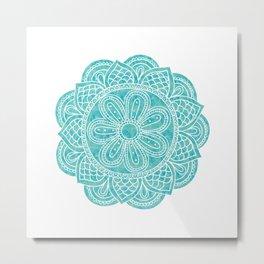 Blue Hue Mandala Metal Print