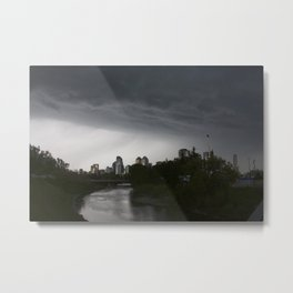 Storm clouds over Calgary and the Stampede grounds Metal Print