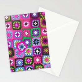 Pink crochet vintage granny squares craft Stationery Cards