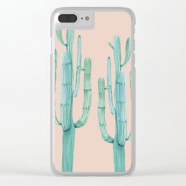 Besties Cactus Friends Turquoise + Coral Clear iPhone Case