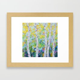 Dancing Birch Trees Framed Art Print