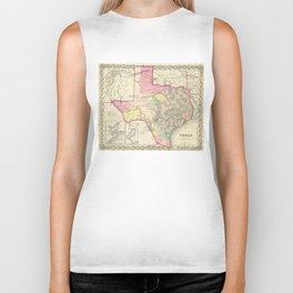 Vintage Map of Texas (1856) Biker Tank