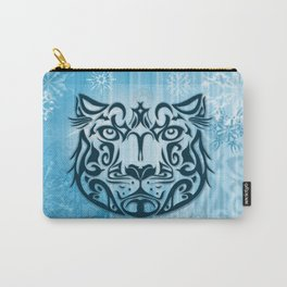 Tribal Graphic Design Illustration winter: Snow Leopard Carry-All Pouch