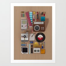 Stuff (wood background) Art Print