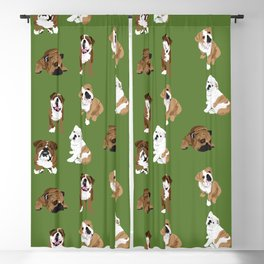 Bulldogs on Olive Blackout Curtain
