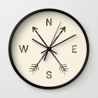 clear Wall Clocks featuring Compass (Natural) by Zach Terrell