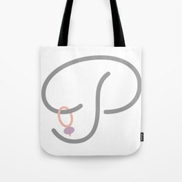 P Initial with Stitch Marker Tote Bag