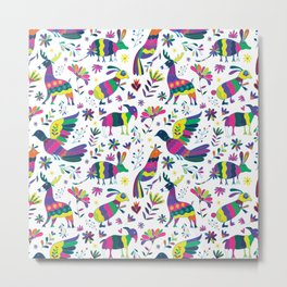 Whimsical Mexican Otomi Style Bright Pattern Metal Print