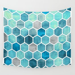 Blue Ink - watercolor hexagon pattern Wall Tapestry