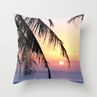 bali Throw Pillows featuring Bali Sunset by Coconut Living