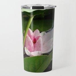 Beautiful White Pink Lotus Travel Mug