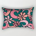 Girly Groovy Pink Coral Green 70s Flowers Pattern by lafemmeart